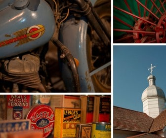 Collage of images. Top left is a close up of a blue Harley Davidson motorcycle. Top right is a close up of a wheel with red spokes. Bottom left is a picture of a variety of antique containers including LePages Glue and Castle floor wax. Bottom right is a picture of a Ukrainian Church tower.