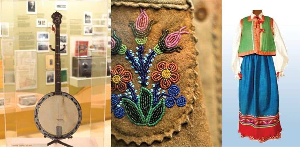 Collage of three images: one of a banjo on display in a glass case, one close-up photo of a beaded leather bag, and one of a colourful Doukhobor wedding dress