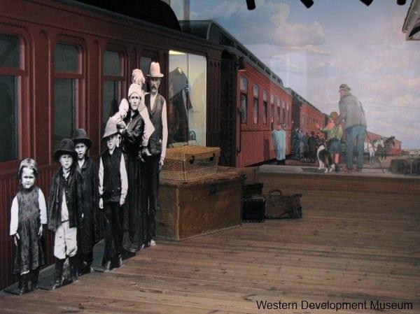 Mural of railway station scene from 1910s Saskatchewan