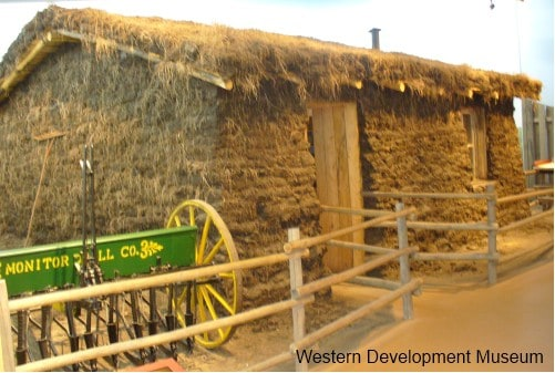 Exterior of sod house built by WDM staff