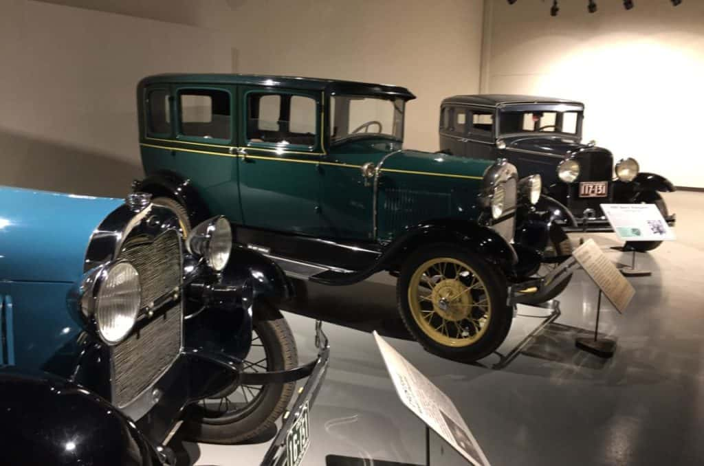 Examples of 1920s transportation - three green 1920 Ford Model A