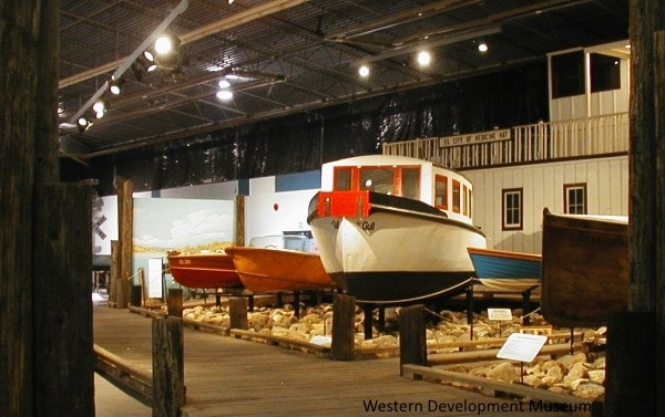 "Watercraft gallery wide view, showing several boats, including ""the gull"""
