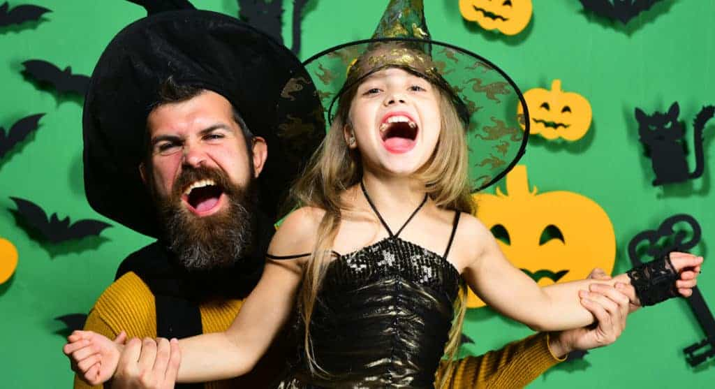 Father and Daughter in Halloween costumes