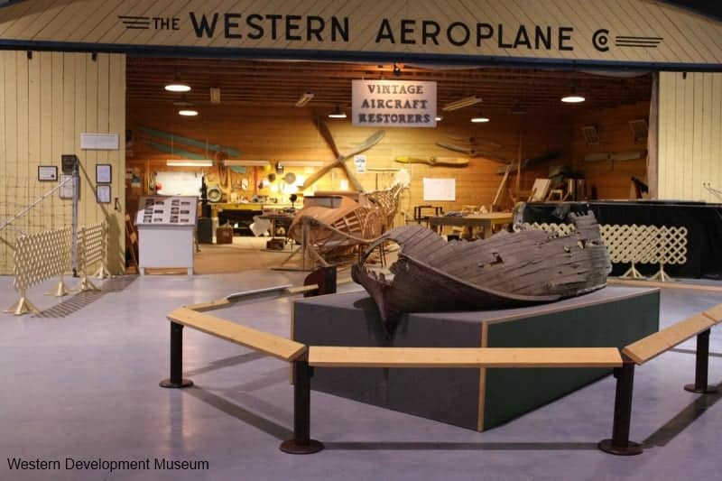 Wooden remains of a Vickers Vedette flying boat hull on display at the WDM Moose Jaw.
