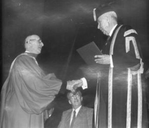 George Shepherd accepting Honourary Scroll from Diefenbaker. Photo: WDM Photo Collection