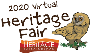 Sunny the cartoon owl with text that says 2020 virtual heritage fair, Heritage Saskatchewan
