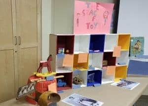 Homemade exhibit about toys